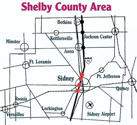 Map Of Area Sidney Shelby County Chamber Of Commerce Sidney Oh